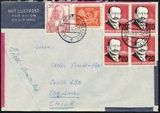 738 GERMANY TO CHILE AIR MAIL COVER 1957 THEMATIC SHIP GLADBECK - COQUIMBO