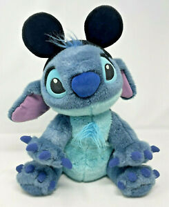 Rare Disney Store Exclusive Furry Stitch Plush Toy w/ Mickey Mouse Ears