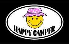 female HAPPY CAMPER vinyl decal sticker. camping camp