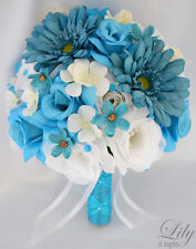 17pcs Wedding Bridal Bouquet Silk Flower Decoration Package TURQUOISE TEAL WHITE