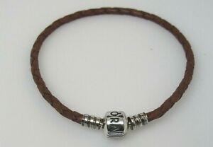 Pandora Medium Brown Leather 19 CM 7.5 In Bracelet 590705CBN Rare Retired