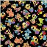 Loralie Joy Dog 692 296 Black Tossed Joy Dogs   Cotton Fabric BTY