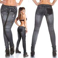 Women's Biker Distressed Skinny Denim Jeans - XS/S/M/L/XL
