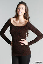 Gorgeous Dk Brown Leopard Print Long Sleeve Scoop Neck Top Nikibiki One Size