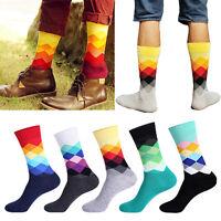 Fashion Mens Cotton Happy Socks Warm Colorful Diamond Casual Dress Socks New