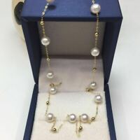 "18"" Stunning AAA+ 7-8mm real natural Akoya white round pearl necklace 18k Gold"