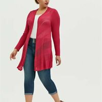 Torrid 1X 5X Cardigan Sweater Pink Pointelle Long Layering Open Front Plus NWT