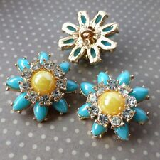 Pack of 2  Gold and Blue Shank Button Flower Buttons
