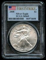 2008 American Silver Eagle $1 PCGS MS 69 First Strike