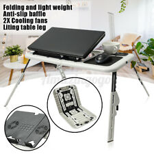 Portable Laptop Desk E-Table Bed With 2 USB Cooling Fans Notebook Stand Tray US