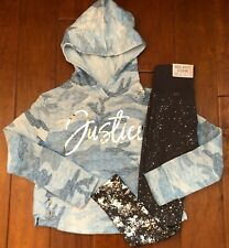 NWT JUSTICE GIRLS 8 10 12 OUTFIT~BLUE CAMO LACE UP LOGO SWEATSHIRT/LEGGINGS