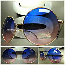 OVERSIZE EXAGGERATED VINTAGE SUN GLASSES Round Gold Wire Frame Pink Purple Lens