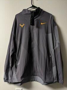 Nike Court Rafa Nadal Size Large Full Zip Tennis Jacket Grey Orange AJ8257 082