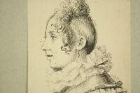Junge Frau im Seitenprofil Tintenzeichnung um 1900 Drawing Portrait Antique