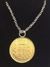 """Victorian Soverign Coin WC33 Gold Pewter On a 20"""" Silver Plated  Chain Necklace"""