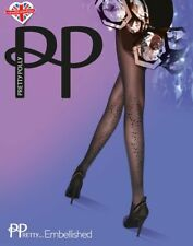 Pretty Polly ~ EMBELLISHED ~ black tights BNWT one size faux crystals