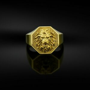Lion's Head Men's Ring 10K Yellow Gold Octagonal Signet African Lion Gift Ring's