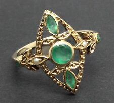 9ct gold emerald & Pearl ring UK size N 1/2, new, actual one. UK Seller.