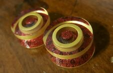 2 Guitar Speed Volume / Tone Knobs... Gold/Red Flake... JAT CUSTOM GUITAR PARTS