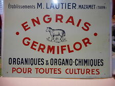 plaque metal engrais germiflor 1958 émail metal peint advertising old de andreis