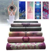 1.5mm Non-slip Nature Rubber Yoga Mat Towel Blanket Exercise Gym Fitness  UK G