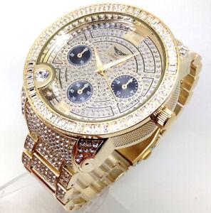 603A Men Classic Hip Hop Wrist Watch Gold Band Diamante Chronograph Chunky Dial