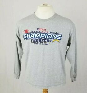 """NFL SAN DIEGO CHARGERS 2007 AFC WEST CHAMPIONS LONG SLEEVE TSHIRT XL 46"""" chest"""