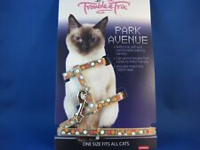 Cat Harness and Lead Set - Beige Circle Pattern - Reflective