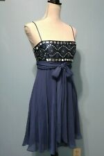 BCBG Max Azria Silk Sequin Beaded Empire Flare Dress 6 Blue Navy Flowy Tie Up