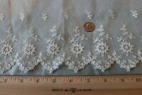 "Antique 19thC French Wide Handmade Lace Flounce~Bridal,Dolls~L-22""X W-7"""