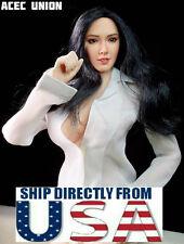 1/6 Asian Female Head Sculpt Black Hair SUPERDUCK SDH001A Hot Toys Phicen Figure