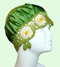 Antique Vintage Satin Crochet Lace Daisy Boudoir Night Sleep Cap Hat Flapper