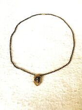 Victorian Gold Filled Unique Shape Pendant, Necklace W Scroll, Cross, Ctr. Stone