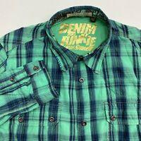 Denim Junkie Button Up Shirt Men's 2XL XXL Long Sleeve Teal Blue Plaid Casual