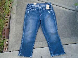 New Silver Jeans Suki High Rise Capri Denim Sz 16 Crop Women