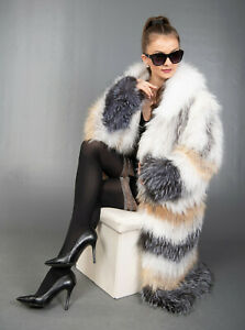 9626 NEW GLAMOROUS REAL FOX COAT LUXURY FUR JACKET HOOD BEAUTIFUL LOOK SIZE 2XL