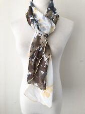 Chicos Yellow Brown Flower Ombre Ruffle Edger Sheer Oblong Scarf Warp