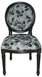 Casa Padrino Barock Esszimmer Stuhl Mod2 Blumenmuster / Antik Schwarz - Möbel