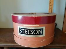 "Beautiful Vintage Stetson Hatbox with Belt 14"" in Dia and 7"" high"