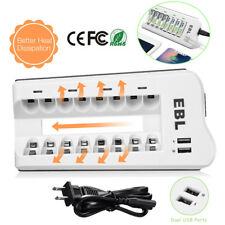 8 Bay AA AAA NI-MH NI-CD Rechargeable Battery Charger with Dual USB Port Charger