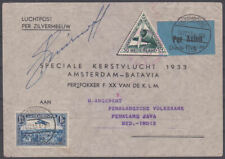 1933 SIGNED DUTCH SPECIAL CHRISTMAS FLIGHT COVER LUXEMBOURG TO EAST INDIES