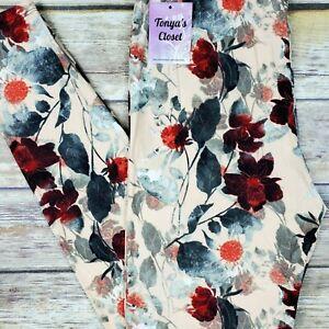 PLUS Floral Vine Leggings Peach Base Buttery Soft Curvy 10-18 TC