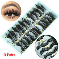 -SKONHED 10 Pairs 3D Soft Faux Mink Hair Natural Long Wispies Fluffy Eyelashes--
