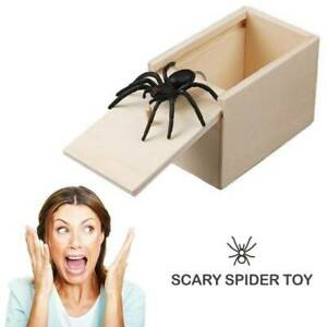 Wooden Prank Spider Scare Boxs Play Joke Hidden In Case Trick Halloween Gag Toys