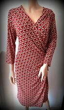 UK size 16 LAURA ASHLEY Polyester/Elastane red, mink & white chains wrap dress