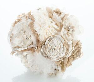 Burlap and Flower Bouquet  Wedding Bridal Bouquet