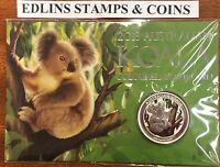 2013 $1 1oz 999 Silver koala on card