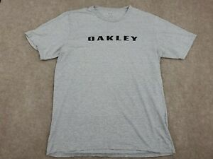 Mens L Large Heathered Oakley T Shirt Tee Short Sleeve With Logo Gray