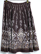Mix Nouveau Skirt 6 Brown Mid Calf Modest A Line Women 100% Cotton