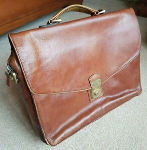Vintage Hidesign Italian Tan Leather Briefcase Attaché Case Bag